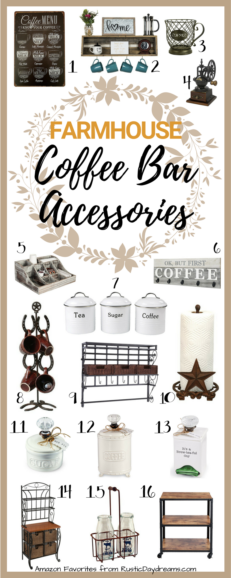 RusticDaydreams.com Amazon Coffee Bar Accessories